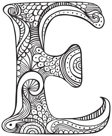 Main lettre majuscule tracée E en noir - feuille à colorier pour les adultes