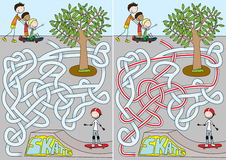 skateboard park: Skate park maze for kids with a solution