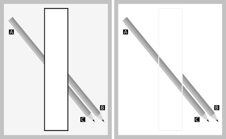 explanations: Optical illusion - although it seems that the pencil goes from point A to point B, in reality it goes from A to C - explanation ot the right