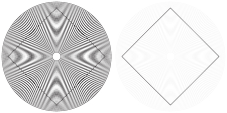 sloping: Optical illusion - square appears to have distorted sides although they are straight - explanation on the right