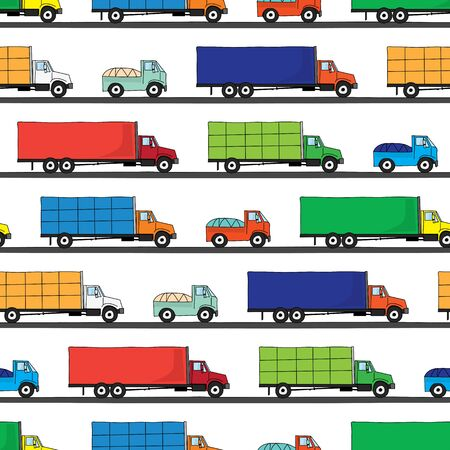 illustrated: Seamless pattern made of illustrated colorful trucks on white