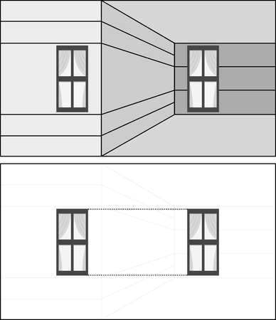 interpretation: Optical illusion -window on the left appears to be smaller than window on the right although they are the same size - explanation below Illustration