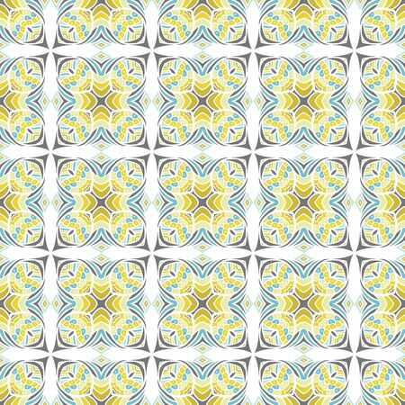 grey scale: Seamless illustrated pattern made of abstract turquoise and yellow elements on white
