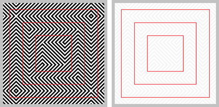 explanation: Optical illusion - red squares look distorted - with explanation on the right