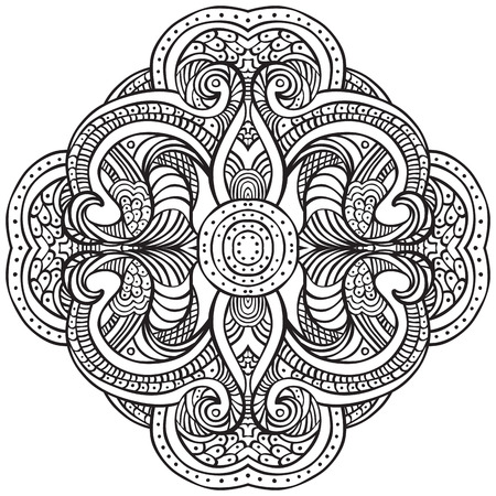 adults: Hand drawn decorative design element - - coloring sheet for adults