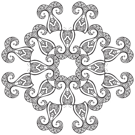 adults: Hand drawn decorative design element - coloring sheet for adults Illustration