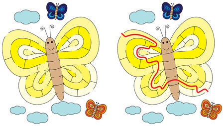 younger: Easy butterfly maze for younger kids with a solution