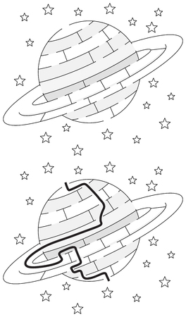 saturn rings: Easy Saturn maze for younger kids with a solution in black and white Illustration