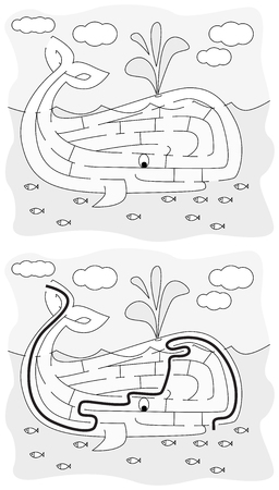 younger: Easy whale maze for younger kids with a solution in black and white