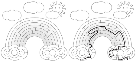 younger: Easy rainbow maze for younger kids with a solution in black and white