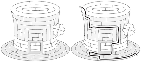 younger: Easy hat maze for younger kids with a solution in black and white