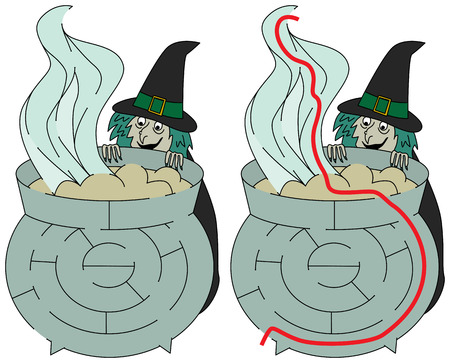 younger: Easy witch maze for younger kids with a solution Illustration