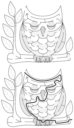 younger: Easy owl maze for younger kids with a solution in black and white Illustration