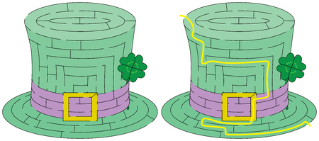 younger: Easy green hat maze for younger kids with a solution Illustration