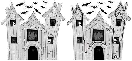 younger: Easy haunted house maze for younger kids with a solution