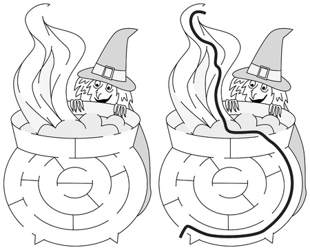 Easy witch maze for younger kids with a solution in black and white