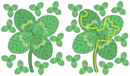 younger: Easy four leaf clover maze for younger kids with a solution Illustration