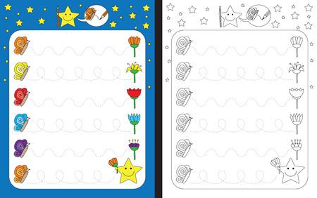 dexterity: Preschool worksheet for practicing fine motor skills - tracing dashed lines