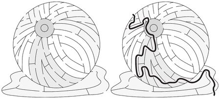 Easy beach ball maze for younger kids with a solution in black and white Illustration