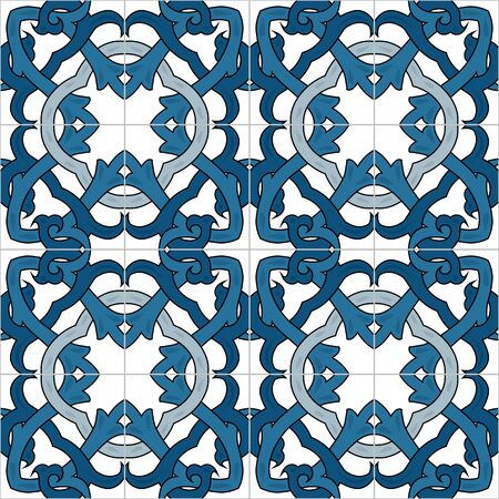 portuguese: Seamless pattern illustration in traditional style - inspired by Portuguese tiles Illustration