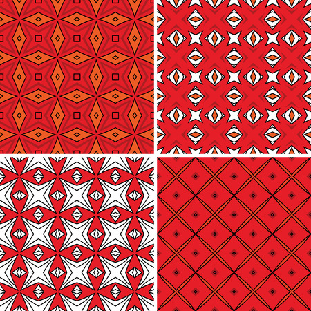 Set of four seamless pattern illustrations in orange and white