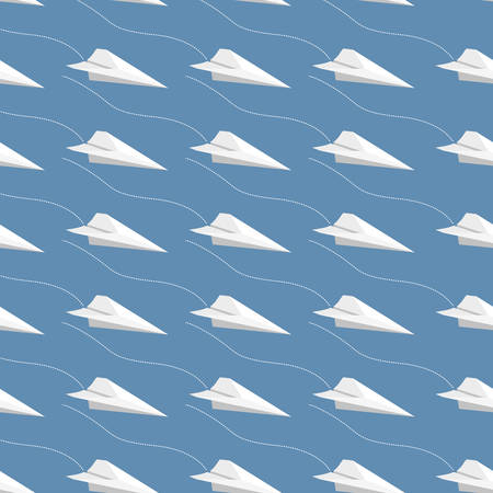 illustrated: Seamless pattern made of illustrated paper airplanes on blue