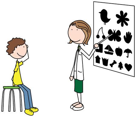 testing vision: Cartoon illustration of an ophthalmologist examining a boy Illustration