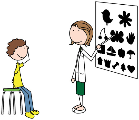 Cartoon illustration of an ophthalmologist examining a boy Illustration