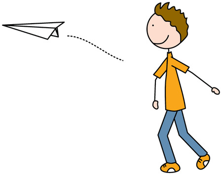 throwing: Cartoon illustration of a boy throwing paper plane Illustration