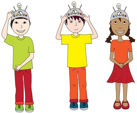 Cartoon illustration of three kids wearing thinking caps