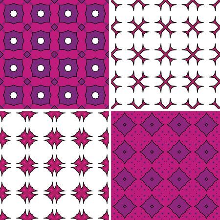 Set of four seamless pattern illustrations in pink, purple and white
