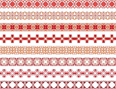 Ensemble de huit bordures décoratives illustrées en carreaux portugais en rouge