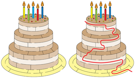 younger: Easy birthday cake maze for younger kids with a solution