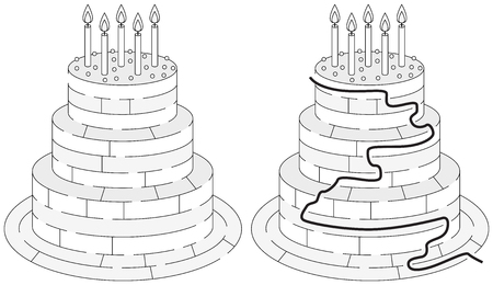 younger: Easy birthday cake maze for younger kids with a solution in black and white