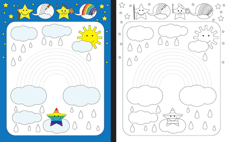 fine weather: Preschool worksheet for practicing fine motor skills - tracing dashed lines