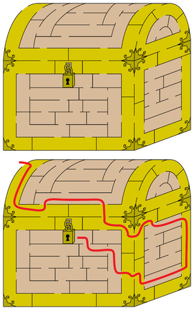 younger: Easy chest maze for younger kids with a solution Illustration