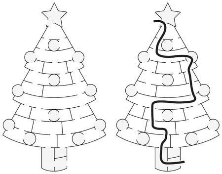younger: Easy Christmas tree maze for younger kids with a solution in black and white