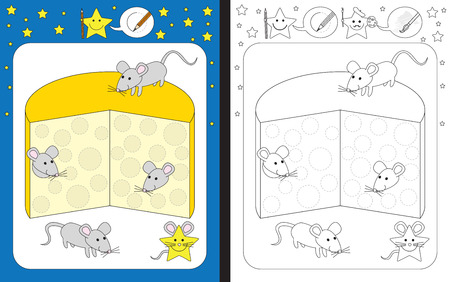 worksheet: Preschool worksheet for practicing fine motor skills - tracing dashed lines