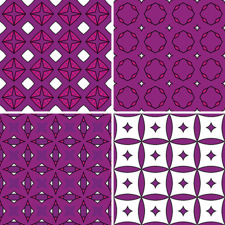 wrappers: Set of four seamless pattern illustrations in purple and white
