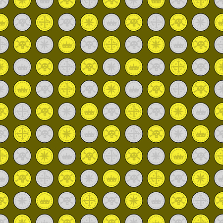 illustrated: Seamless pattern made of illustrated gold and silver coins on white Illustration