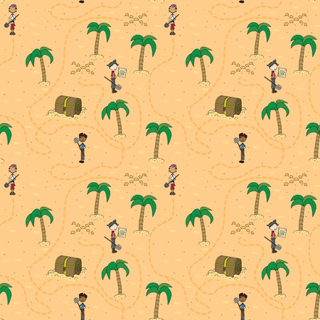 illustrated: Seamless pattern made of illustrated pirates in search of treasure Illustration