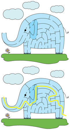 younger: Easy elephant maze for younger kids with a solution
