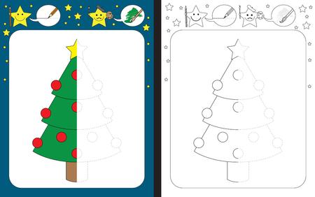 dashed: Preschool worksheet for practicing fine motor skills - tracing dashed lines - finish the illustration
