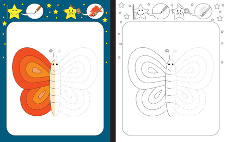 dexterity: Preschool worksheet for practicing fine motor skills - tracing dashed lines - finish the illustration