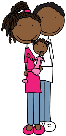 african american couple: Cartoon illustration of family of three - parents and daughter Illustration