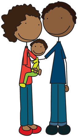 father and son holding hands: Cartoon illustration of family of three