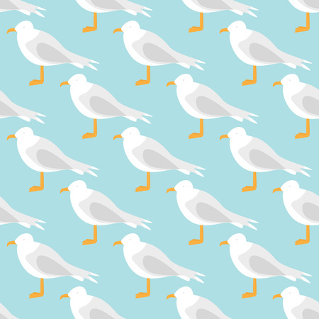 Seamless pattern made of illustrated seagulls on turquoise 向量圖像
