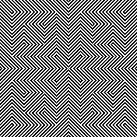 sloping: Optical illusion - seamless pattern made of black and white lines