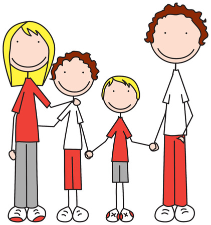 father and son holding hands: Cartoon illustration of family of four Illustration