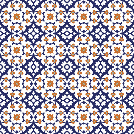 Seamless illustrated pattern made of abstract elements